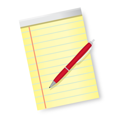 yellow pad of paper with a red pen