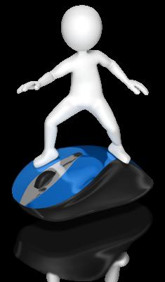 stick figure riding a mouse like a surfboard